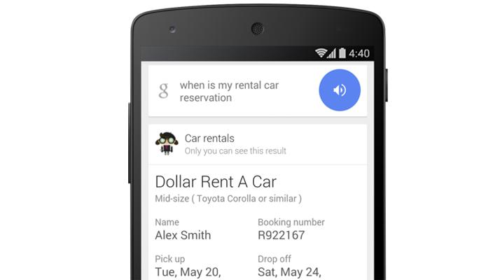 Google Now показывает данные об аренде автомобилей